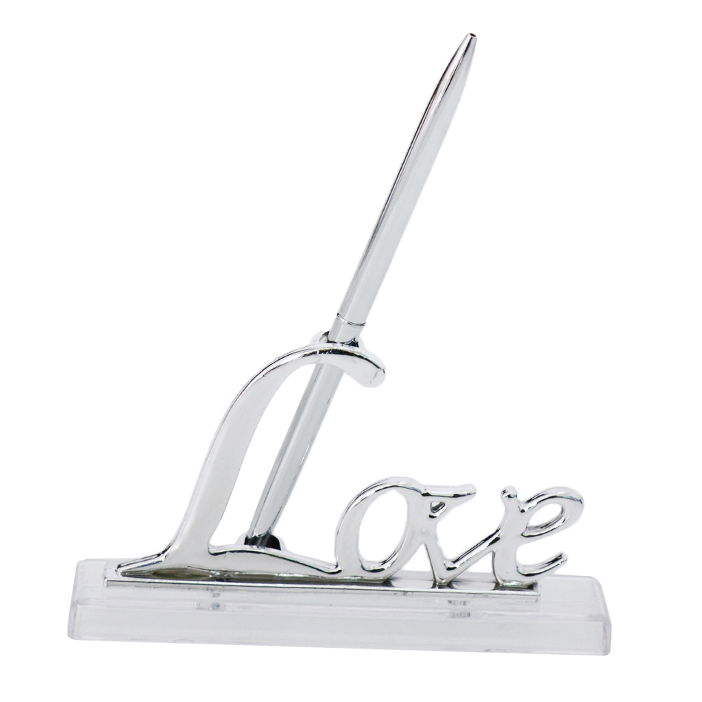 Wedding Reception Party Silver Guest Book Signing Pen W/ Love Sign Pen Stand Table Decor