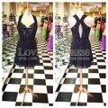 Vestidos De Coctel Halter Neck Off Shoulder Short Party Dress Black Lace Key Hole Back Cocktail Dress Chiffon Gown 2017 Vestido