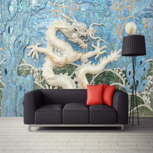 Custom wallpaper new Chinese style embossed dragon 3D mural background wall high-grade waterproof material