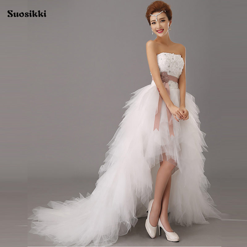 Suosikki 2018 High Low Short Front Long Back Beach Wedding Dresses short  train formal dress Bride Gowns