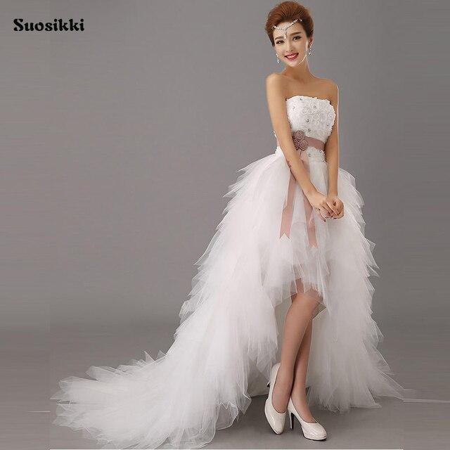 Suosikki 2018 High Low Short Front Long Back Beach Wedding Dresses short  train formal dress Bride Gowns de451b4c8ec8