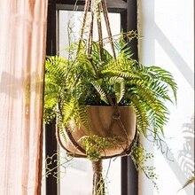 Горшок Подвесной Канат пеньковый макраме для растений цветочный горшок подвесной держатель Корзина вешалка домашний Вертикальный Сад Балкон украшение 1 шт. 2 размера
