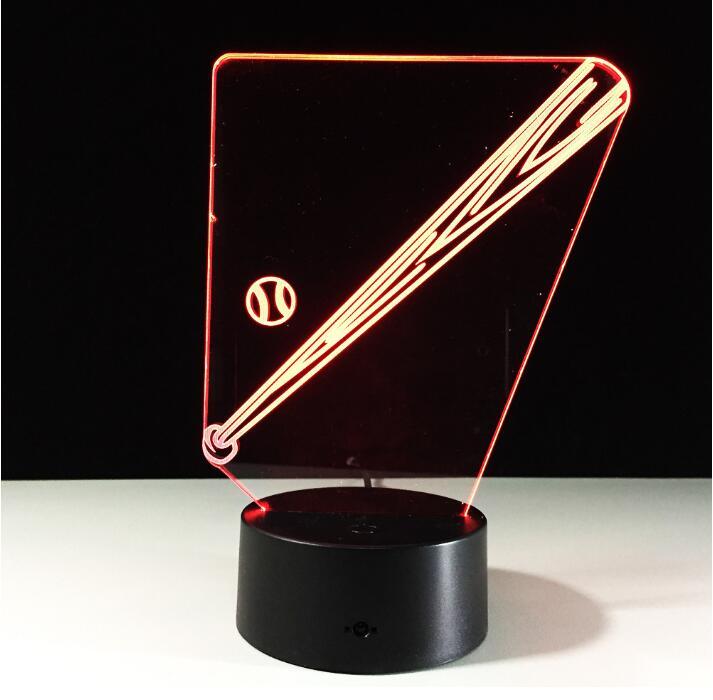 MLB LED Boston Baseball Bat 3D Bone baseball Softball Bat Illusion Night Light 7 colors changing Mood Lamp Decorative Lights aluminum baseball bat silver 73cm