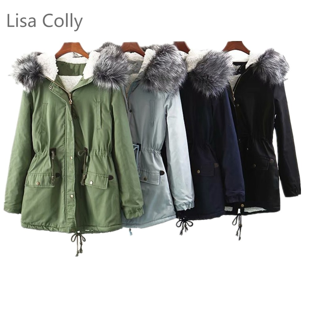 Lisa Colly New long   Parkas   Womens Winter Jacket Coat Thick Warm Cotton Jacket Coat Womens Outwear   Parkas   Faux Fur Coat Overcoat