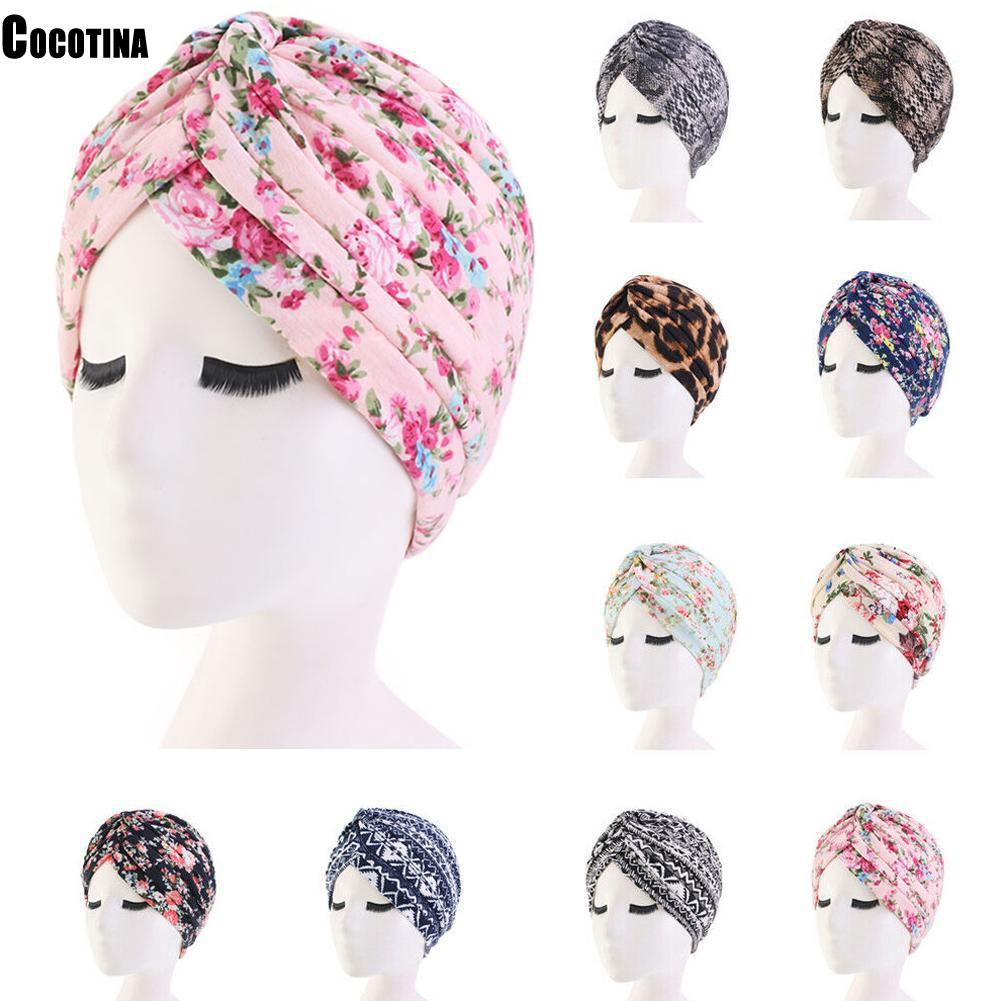 Pastoral Floral Print Turban Women National Wind Muslim Hat Bandana Chemotherapy Hat Sleep Caps   Beanies   Headwrap