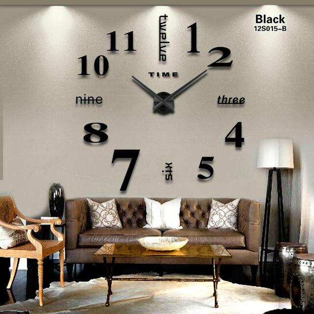2016 새로운 홈 장식 큰 거울 벽 시계 현대적인 디자인 3D DIY 대형 장식 벽 시계 시계 벽 독특한 선물