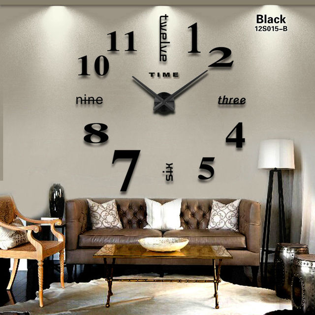 2017 New Home decoration big mirror wall clock modern design 3D ...