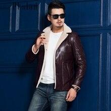 Ptslan 2016 Men's Genuine Leather Jacket Real Lambskin With Lamb Fur Coat