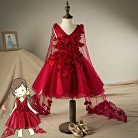 Real Photo 2016 Red V Neck Knee Length Tulle Flower Beaded Flower Girl Dresses For Party