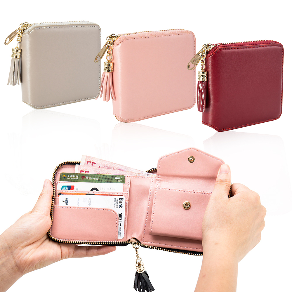 Square Women Coin Purses Holders Wallet Female Leather Tassel Pendant Money Wallets Hot Fashion Clutch Bag