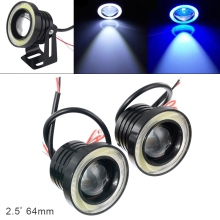 цена на 2pcs 2.5 Inch Car Fog Lamp 64MM 12V 1200LM DRL Car LED Angel Eye Fog Lamp COB Diaphragm Daytime Running Light for Car Vehicles
