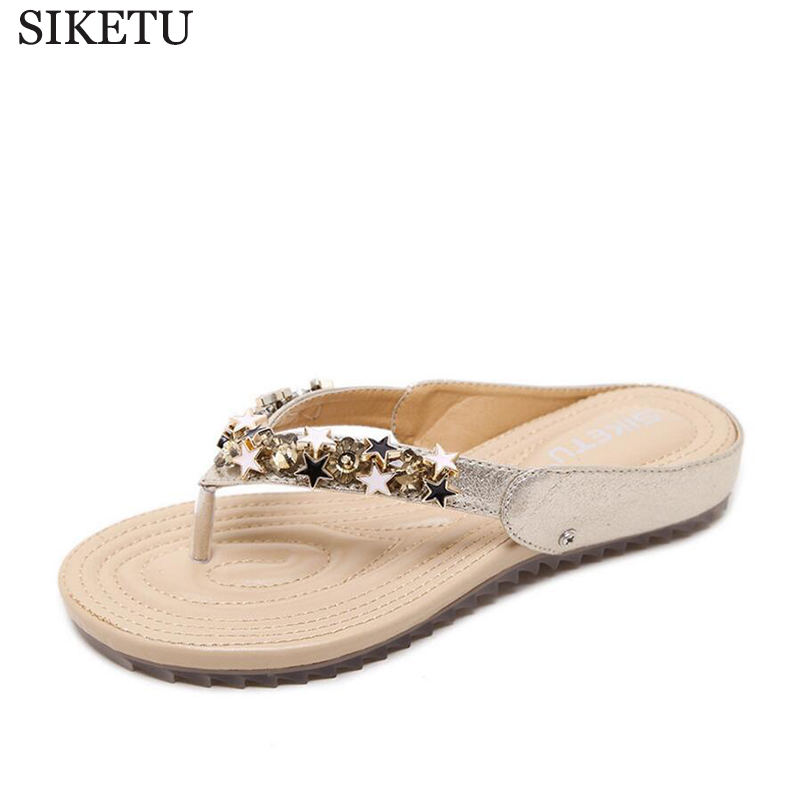 New Summer Women Flip Flops Beaded Slippers Flat Sandals Bow Rivet Fashion Crystal Beach Shoes sandalias mujer z202 summer women slippers clogs mules eva 2018 flip flops beach garden shoes fashion breathable sandals outdoor zapatos mujer colors