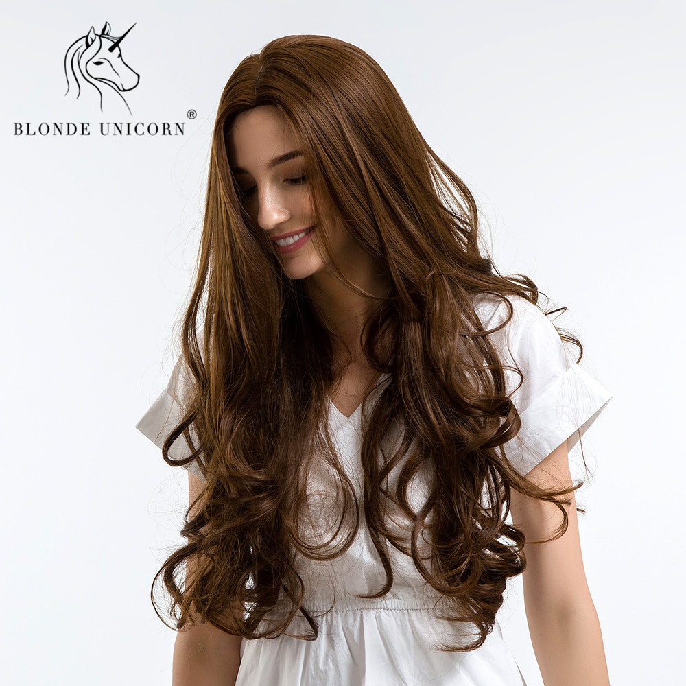 BLONDE UNICORN Synthetic 28 Inch High Density Temperature Long Wavy Wigs  Brown Cosplay Black White Women Curly Hair Wigs