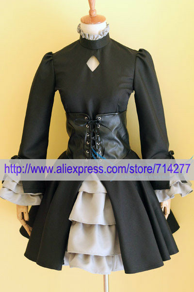 Free shipping Custom cheap Dark Saber Cosplay costume (Hollow Ataraxia) from Fate Stay Night Anime clothing Christmas