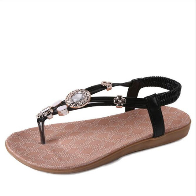 POADISFOO 2017 summer ladies fashion Rhinestone B women shoes Bohemia  pinch diamond flat sandals three color .HYKL-568