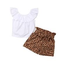Cute Kids Baby Girls Off Shoulder Ruffle Sleeveless Tops Leopard Short Pants 2Pcs Sets Clothes 2019