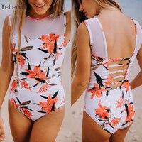 2017 Sexy One Piece Swimsuit Women Swimwear Print Bodysuit Crochet Bandage Cut Out Beach Wear Bathing