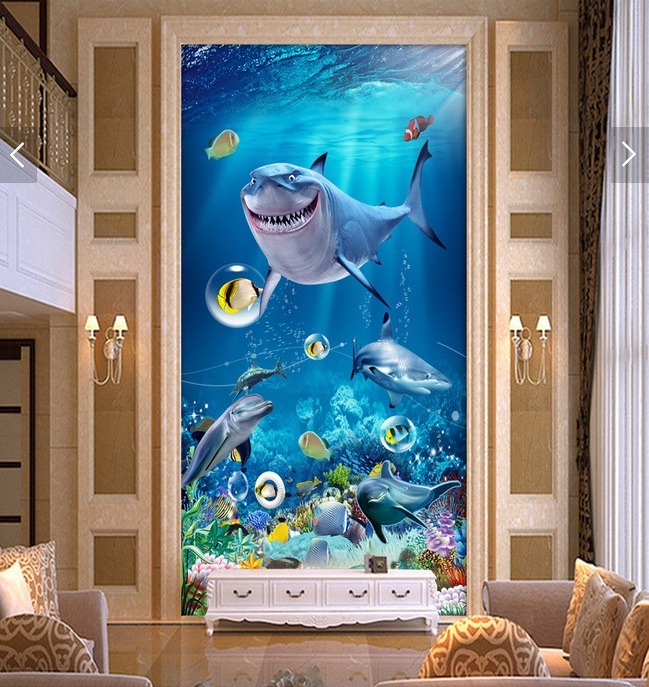 3d room wallpaper custom mural non-woven picture 3 d sea world shark dolphins porch painting photo 3d wall murals wallpaper beibehang lovely abc print kid bedding room wallpapers ecofriendly fantasy non woven wall paper children mural wallpaper roll