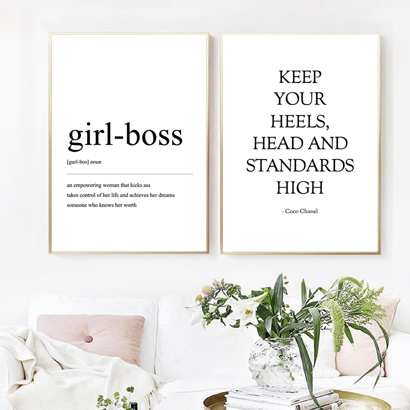 Coco Fashion Definition Wall Art Canvas Posters Prints Girl-boss Quotes Painting Black White Wall Pictures Home Woman Room Decor