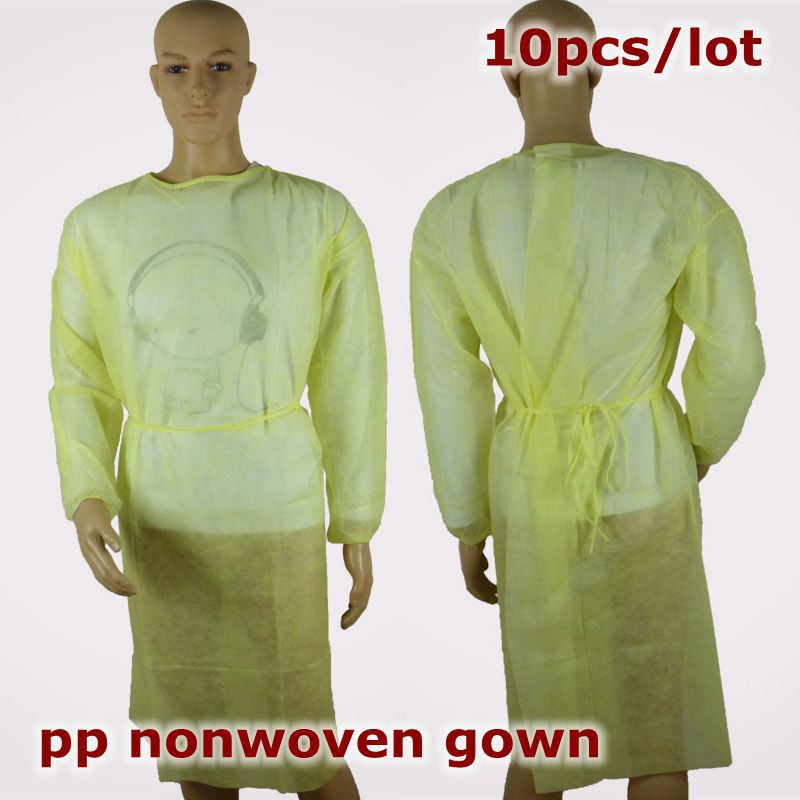 Yellow 10pcs/lot Disposable PP Non woven surgical gown medical ...