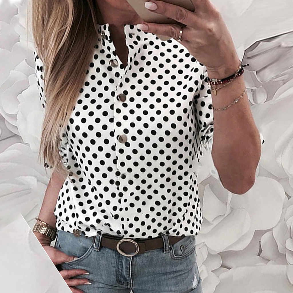 2019 Donne Maglietta Casual Più Il Formato Magliette e camicette T-Shirt Con Scollo A V Button Dot Stampa Quotidiana Allentato Camiseta Mujer Top Harajuku T camicia