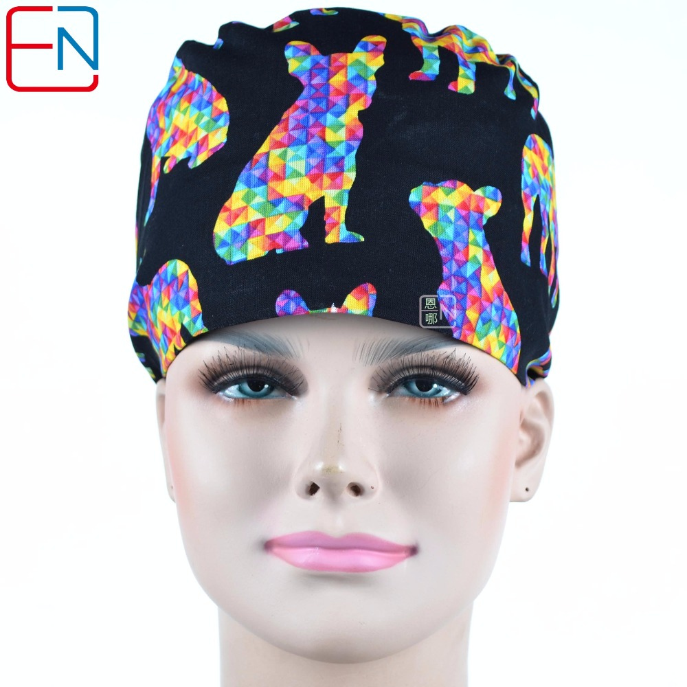 Hennar Doctors Surgical Cap Cotton Printing Doctor Nurse Scrub Caps Mask Black Print Adjustable Hospital Clinic Women's Work Hat