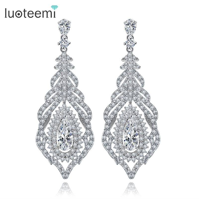 LUOTEEMI Luxury Micro Pave Cubic Zirconia Long Feather font b Earrings b font For Women High