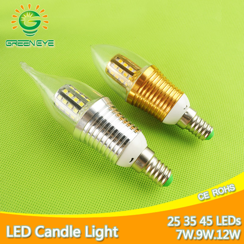 Aluminum Shell Led E14 Candle LED Bulb Light 7w 9w 12w LED Lamp 220V 240V Golden Silver Cool Warm White Ampoule Lampara CandelaAluminum Shell Led E14 Candle LED Bulb Light 7w 9w 12w LED Lamp 220V 240V Golden Silver Cool Warm White Ampoule Lampara Candela