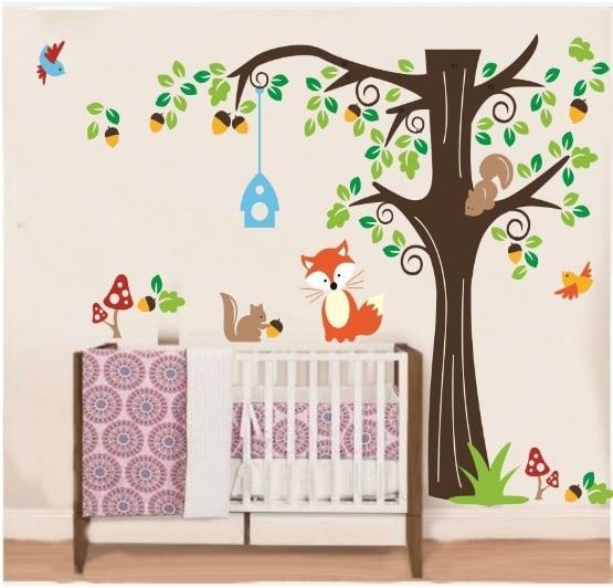 Big Roommates Fox Tree Peel U0026 Stick Wall Decal Kindergarten Animal  Forest Wall Sticker