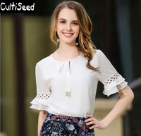 Female Chiffon Shirts 2017 Women Summer Lacing up Bow Tie O-neck Elegant Office Work Shirts Tops with Butterfly Sleeve