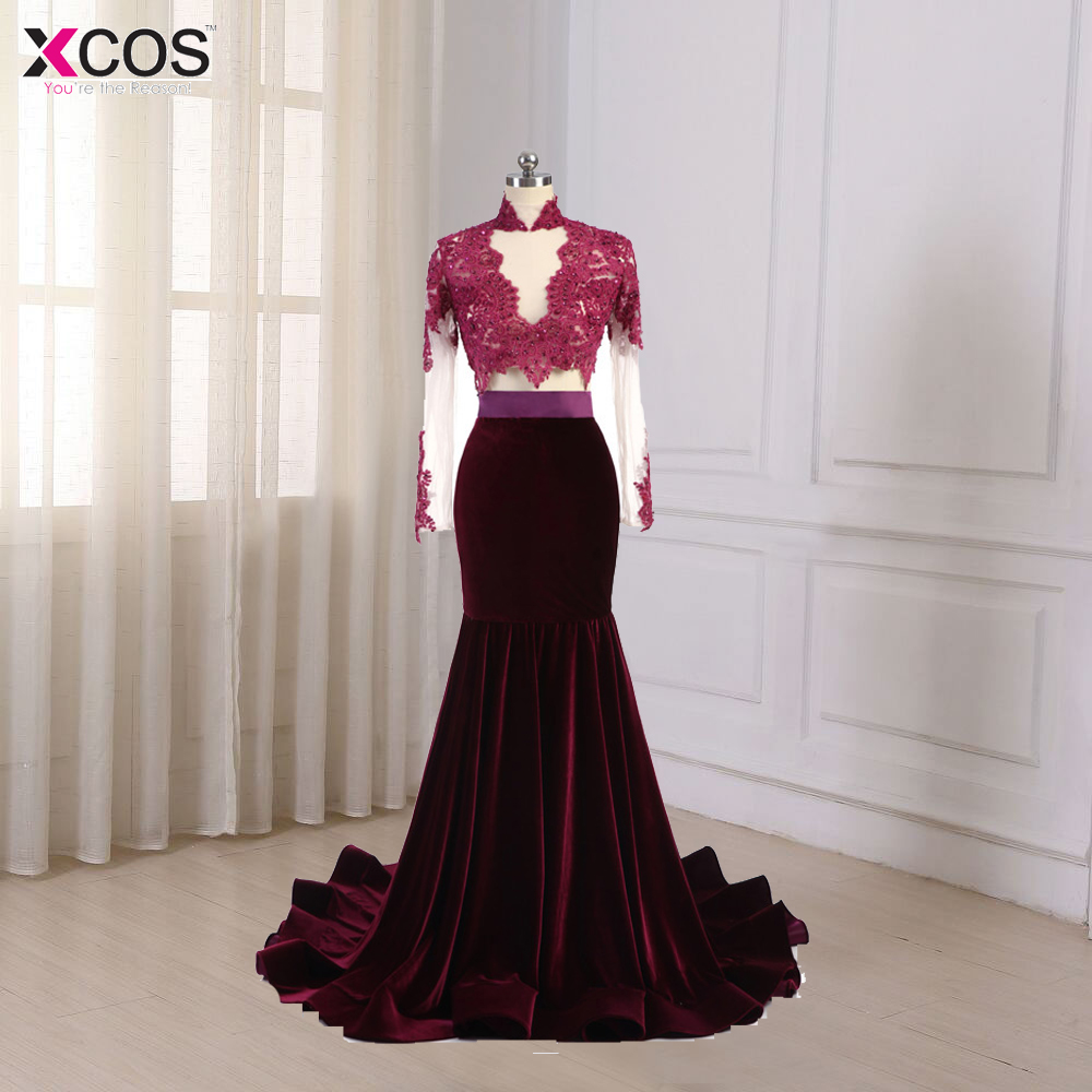 Sexy Women galajurken lang See through High Neck Velvet Evening   Dresses   Long Sleeve Long Burgundy   Prom     Dress