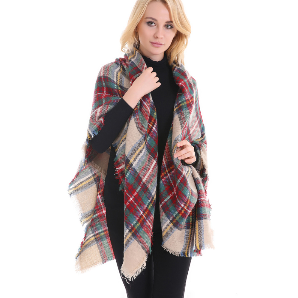 Faybox Winter Spring Fall Plaid Sarves Oversize Scarf Long Warm Wrap Acrylic Shawls Cashmere Scarf font