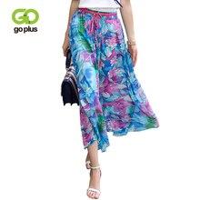 GOPLUS 2019 New Spring Fashion Print Chiffon Skirt Women bohemian High Waist long plus size befree Beach Boho Maxi