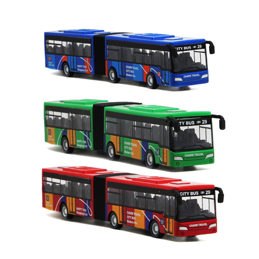 Double Track Trolley Bus Model Car Toys Voice Alloy Acoustic Light Pull Back Diecast Toy Car Tram Wheels Model for Children image