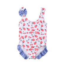 c53b660ec77 Kid Baby Girl Summer Swimsuit Fruit Romper Bikini Swimwear Bathing Suit  Strawberry Printing Bow Ruffles 1pc Swimsuit Tankini