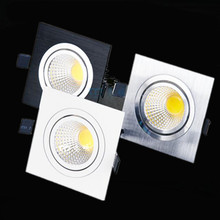 1xFree shipping LED square COB Downlight Dimmable ac80-240V 7W 9W 12W Recessed Led ceiling lamp Spot light Bulbs Indoor Lighting