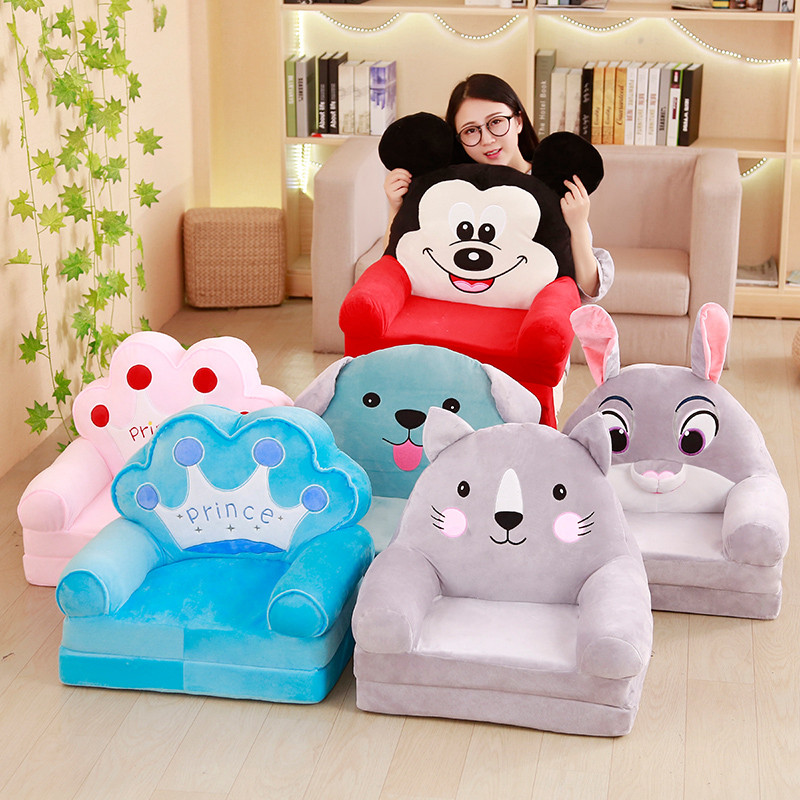 Kawaii canapé paresseux bébé canapé Tatami bande dessinée couronne canapé pliant en peluche jouet dossier créatif enfants siège cadeau d'anniversaire