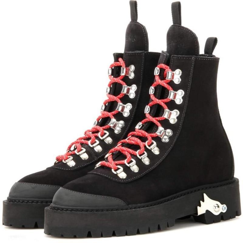 Faible Cheville Rond Chaussures Bottes Extérieure Amoureux Prova Dur Lacets Militaire Bout Mode Talons En Courtes Apricot Semelle red Femmes Perfetto Pour black 87nYqS