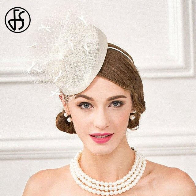 FS Beige White Pillbox Hats Women Fedoras Vintage Sinamay