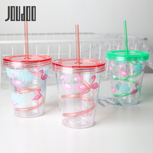 JOUDOO 450ml Cartoon Cute Plastic Straw Bottle Summer Outdoor Sport Cool Ice Water Women Office School Drink Bottles 35
