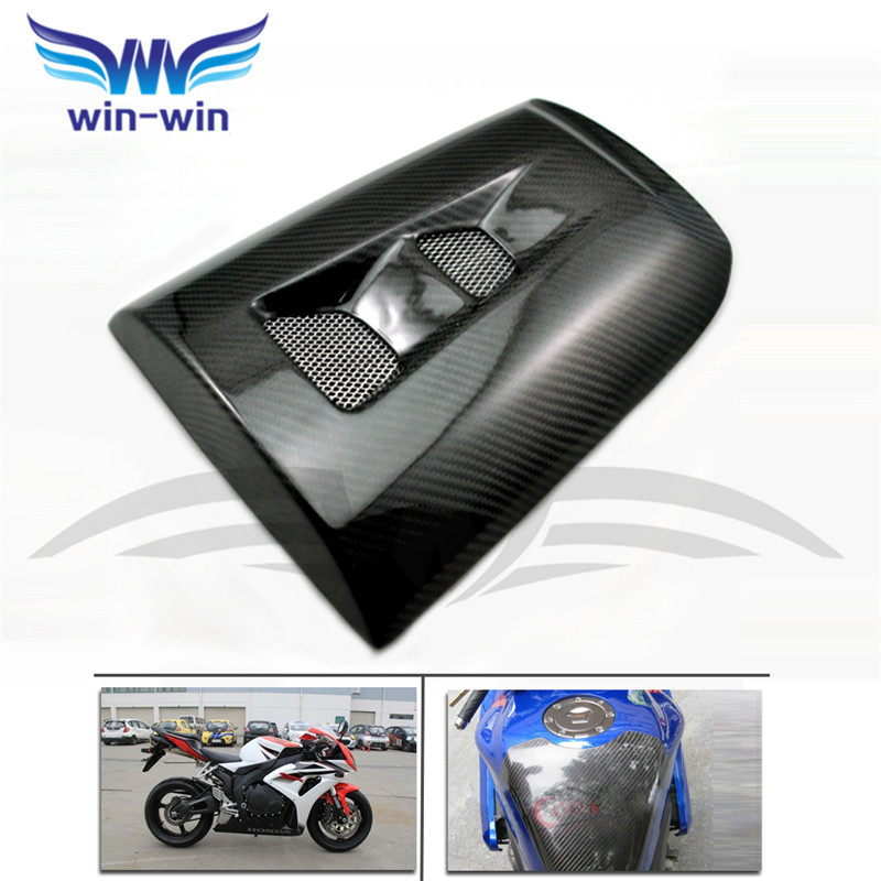 ФОТО motorcycle accessories black color caron fiber fuel gas tank protector pad shield rear carbon fiber for honda CBR1000 RR 04-07
