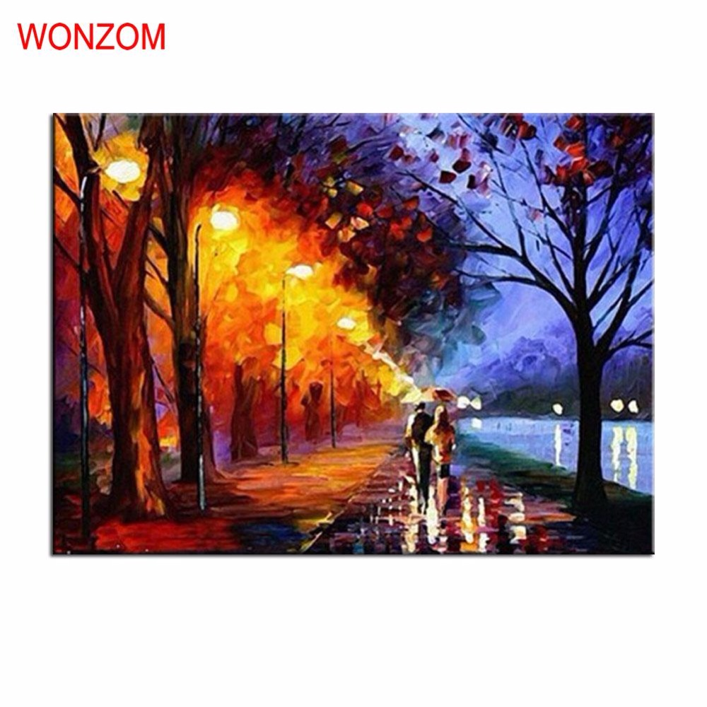 Couple Lover Painting By Numbers DIY Handpainted Unframed Christmas Poster Street Wall Canvas Coloring By Numbers Decor Cheap
