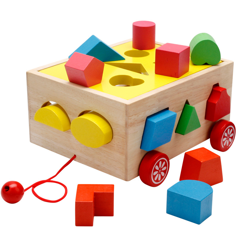 Baby Block Match Learning Educational Wood Toy 15 Holes Geometry / Digital Shape Intelligence Box Trailer Early Learn Cube Game