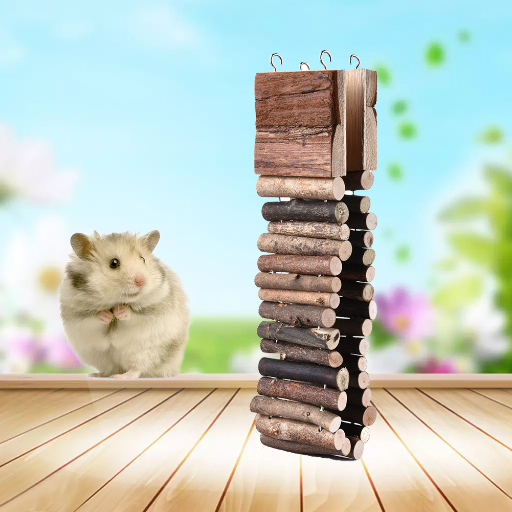 New Hamster Ladder Pure Wooden Small Pets Toys Hamsters Chinchillas Guinea Pigs Chew Toy Climbing Frame Hanging Ladder Bridge