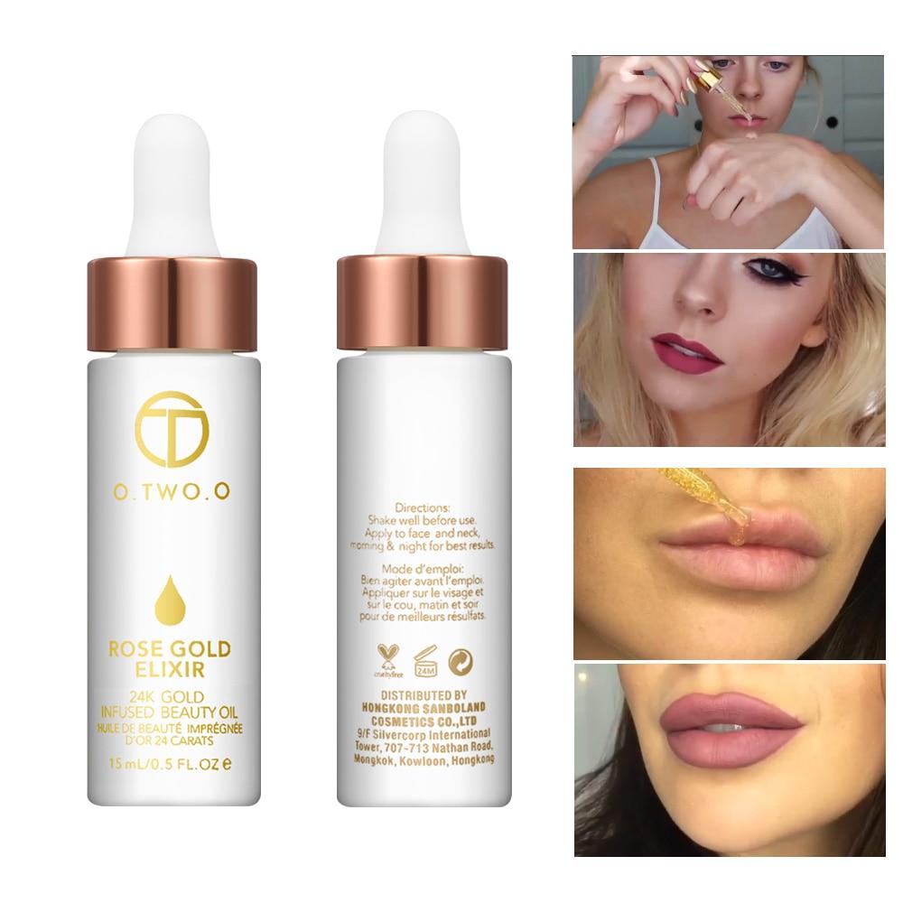 O.TWO.O Essential Oil Before Primer Foundation Moisturizing Face Oil Anti-aging 24k Rose Gold Elixir Skin Make Up Oil For Face subtil elixir intense nutrition shine oil by phyto for unisex 2 x 5 oz oil