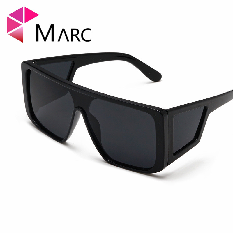 MARC Trendy ocean sunglasses Eyewear personality Leopard Yellow Mirror shield new Square fashion Oversized Silver