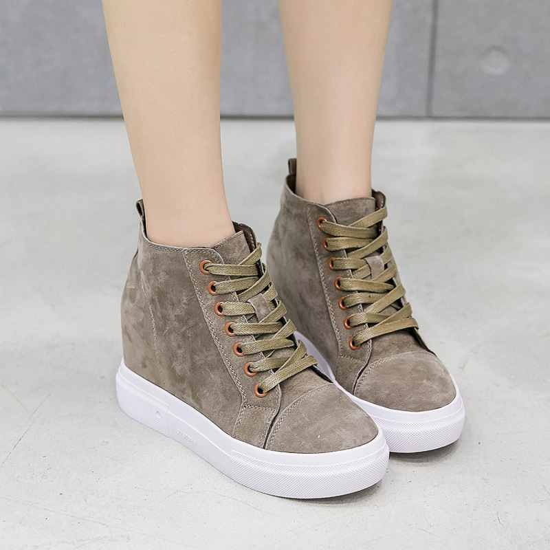 Printemps Yiluan Femmes Augmenter Velvet Porc Automne Véritable Velvet khaki Chaussures up Étudiant black Black Haute De Plus khaki Lace High Cuir Top Casual Talons Suede qCcwEFSfWw