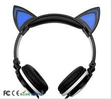 Explosion models New children's cartoon cat ear headset shiny folding mobile music headphones with CE, REACH, US, certifications(Hong Kong,China)