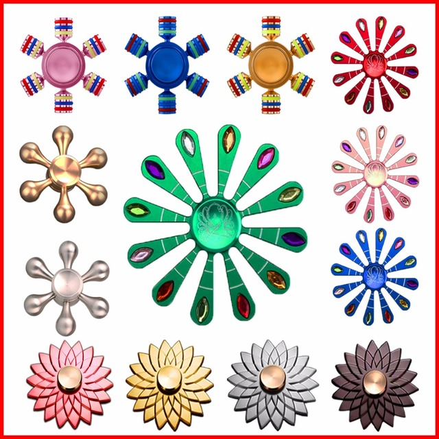 Newest EDC Fidget Metal Spinner Lightweight Aluminum Alloy Spinner Hand Nice Lotus Peacock Flower Spinner Adult Child Toy Gyro