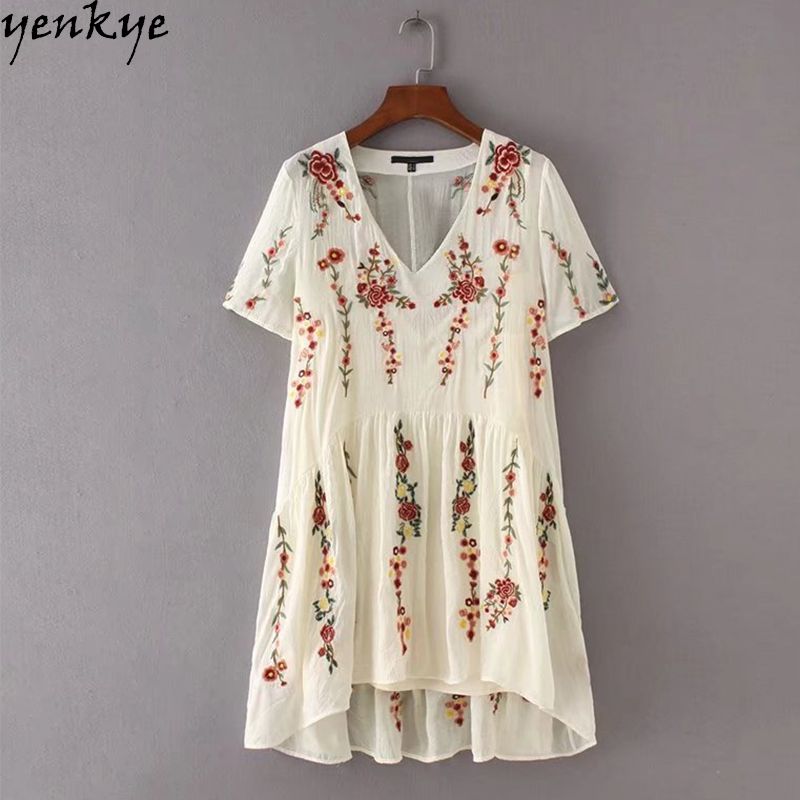2pcs Summer 2017 Women Fashion Brand Floral Embroidery Dress Female Short Sleeve V Neck Party Casual